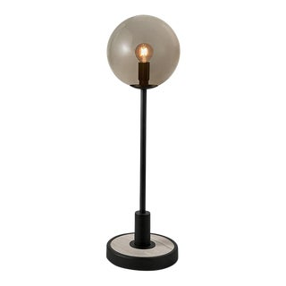 Satin Black With Grey Stone and Smoke Glass Lunar Table Lamp For Sale