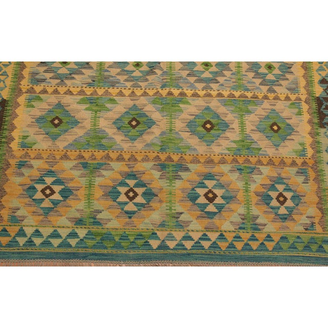 Darleen Green/Teal Hand-Woven Kilim Wool Rug -5'2 X 6'7 For Sale In New York - Image 6 of 8