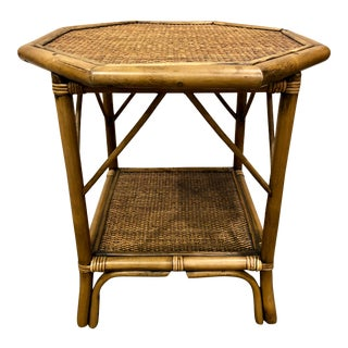 Boho Chic Bentwood Bamboo Rattan Octagonal Side Table For Sale