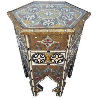 Moroccan Camel Bone Resin and Metal Inlay Side Table For Sale
