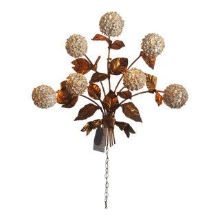 1950s Regency Flowered Hydrangea Brass Wall Lamp