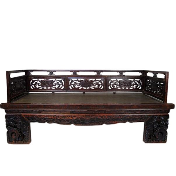 1900s Antique Chinese Daybed With Hand Carved Railing For Sale