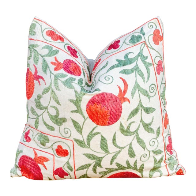 Remani Pomegranate & Green Ivy Uzbek Suzani Pillow For Sale
