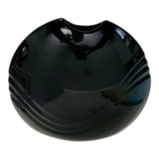 Mid Century Modern Vintage Mikasa Black Flat Vase For Sale