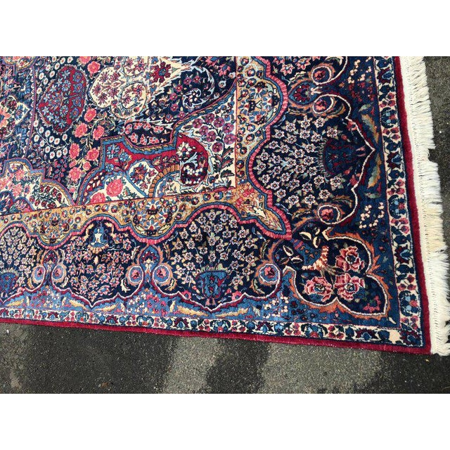 Fabric Palatial Antique Persian Carpet With Red Border, Blues, Reds, Creams, Kermin For Sale - Image 7 of 13