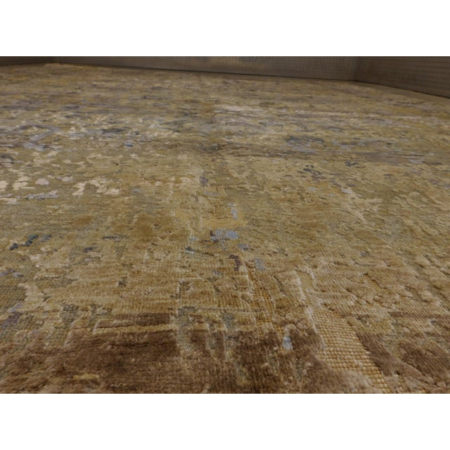 Hand Knotted Indian Wool and Silk Rug - 9'x 12' For Sale In Los Angeles - Image 6 of 12
