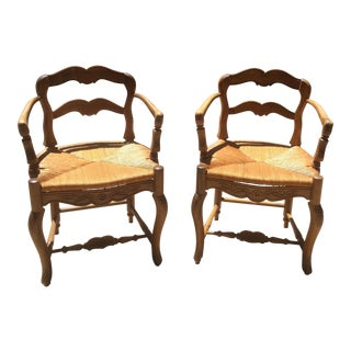 French Fruitwood Louis XV Style Ladder Back Armchairs - A Pair