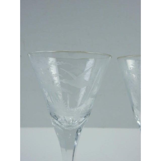 1920s Etched Wildlife Vintage Wine Glasses - Set of 7 For Sale - Image 5 of 7