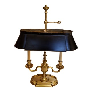 Frederick Cooper Brass Bouillotte Lamp & Black Tole Shade For Sale