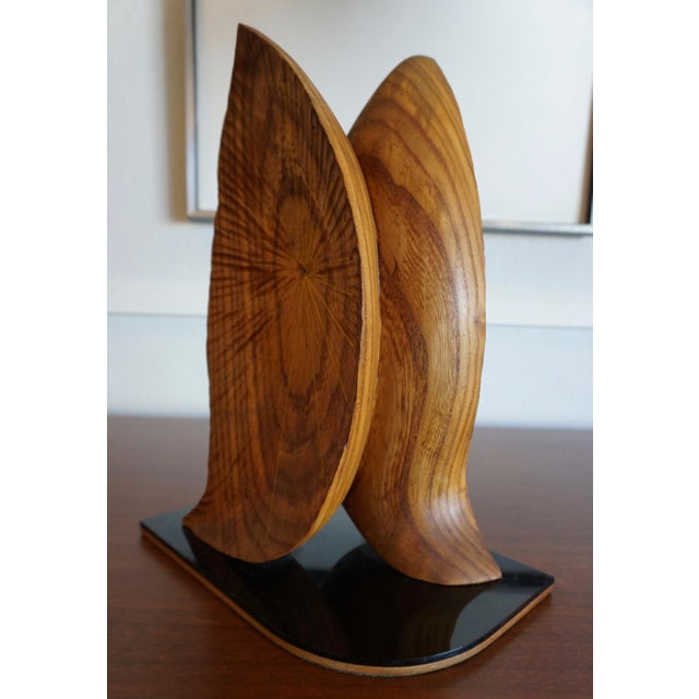 "Acrylic Organic Abstract Oak Wood Sculpture Signed ""Paltridge"" 77 For Sale - Image 7 of 7"