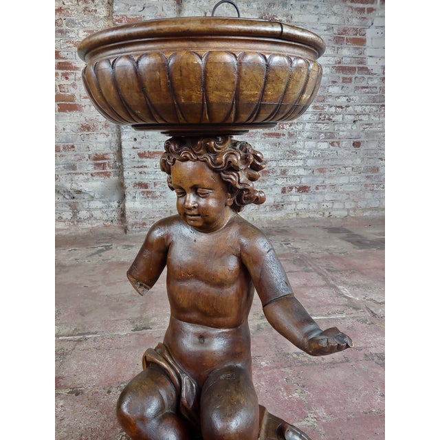 French 18th Century French Hand-Carved Walnut Cherub With a Plant Stand For Sale - Image 3 of 10