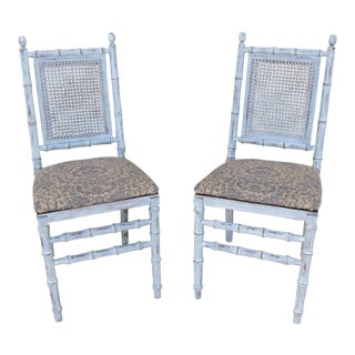Faux Bamboo and Cane Folding Chairs - a Pair For Sale