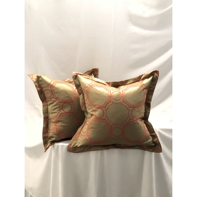 Fabulous new pair of Jim Thompson Silk Company brand square flange edge pillows from Thailand. The pillow forms are made...