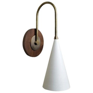 Italian Blueprint Lighting 'Solana' Wall Mount Reading Lamp in Walnut, Brass & Enamel For Sale