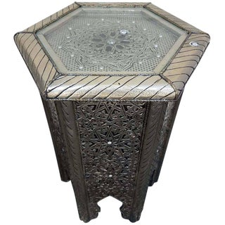 Moroccan Hexagonal Metal Inlaid Side Table