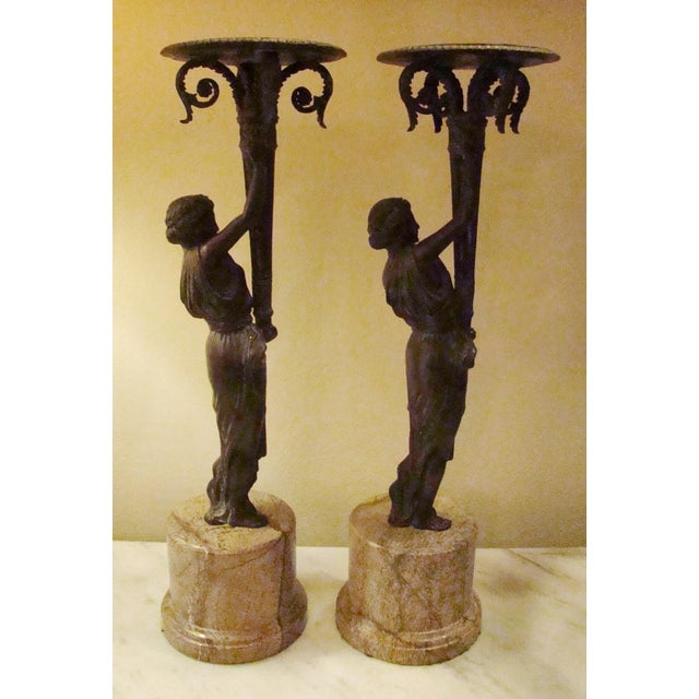 Art Deco Bronze Figural Candle Holders - A Pair - Image 5 of 11