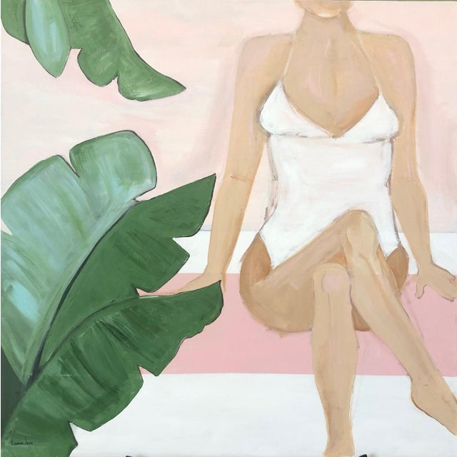 "36 x 36 unframed painting on canvas. The piece is titled: ""Beach Babe""."