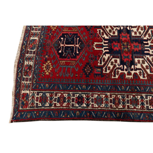 "1950s Vintage Persian Heriz Rug, 4'8"" X 7'0"" For Sale - Image 5 of 9"