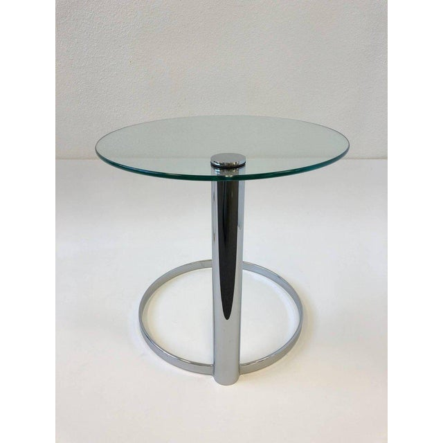 Pair of Chrome and Glass Side Tables by John Mascheroni for Swaim For Sale - Image 9 of 10