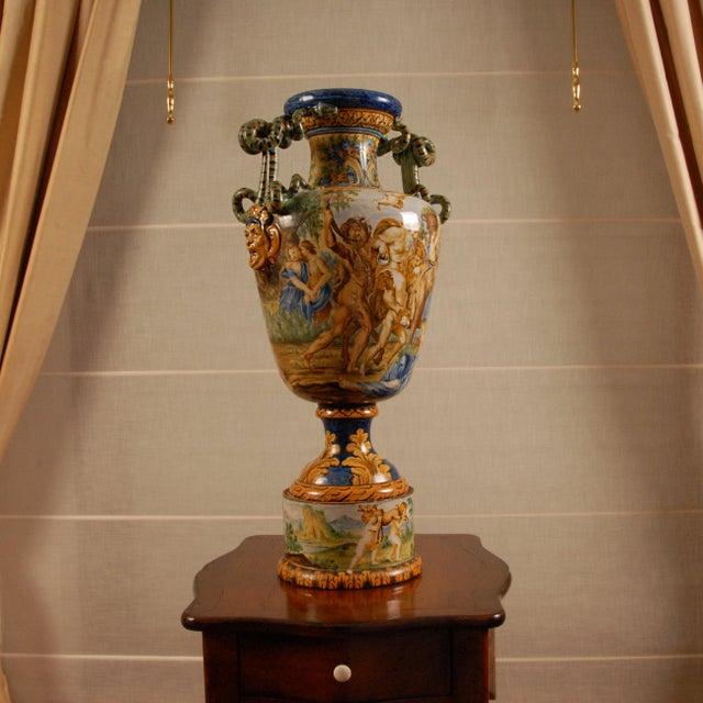 Italian Majolica Serpentine Handle Mythological Vase For Sale - Image 9 of 13