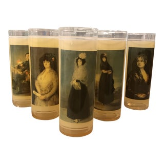 Vintage Portraits Mid-Century Skyball Glasses - Set of 7