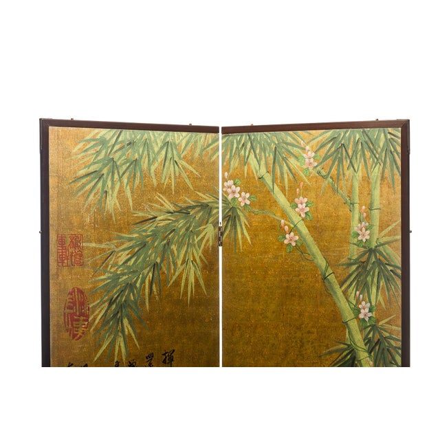 """Lawrence & Scott Chinese Inspired """"Bamboo Scene With Poem"""" Hand-Painted Gold Foil 2-Panel Screen For Sale In Seattle - Image 6 of 13"""