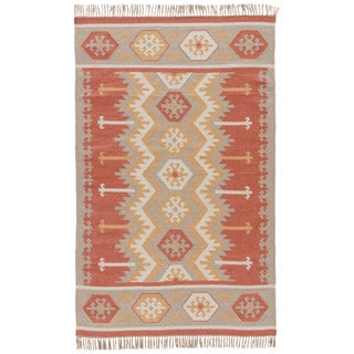 Jaipur Living Emmett Indoor Outdoor Geometric Orange & Beige Area Rug - 5' X 8' For Sale