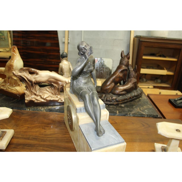French Art Deco 3-Piece Clock Garniture, Marble with Woman Sitting, Circa 1940s For Sale In Miami - Image 6 of 11