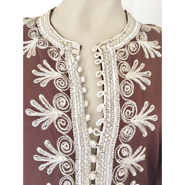 Gold Moroccan Caftan, Maxi Dress Kaftan, 1970 Size Small For Sale - Image 8 of 13