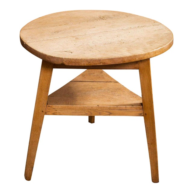 Sycamore Cricket Table With Triangular Shelf, English Circa 1860 For Sale