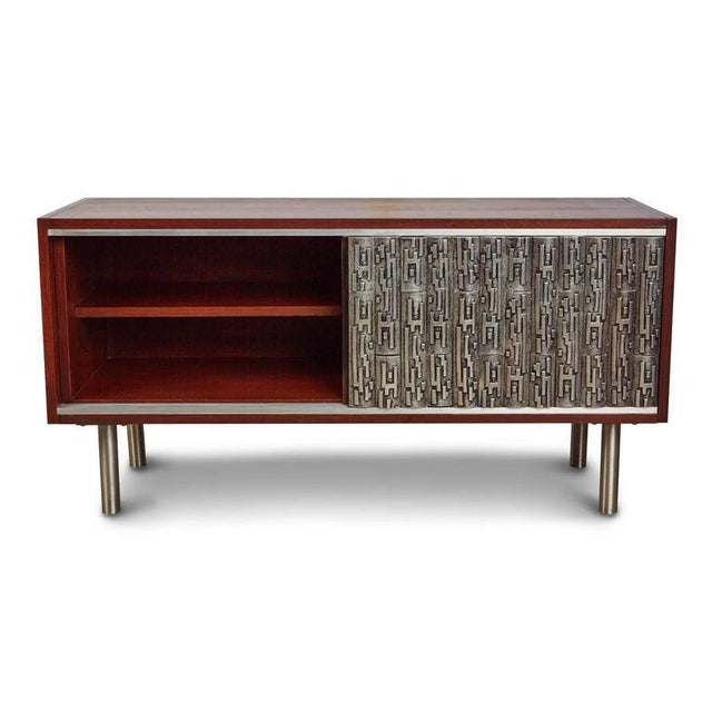 Brutalist Credenza With Custom Art Relief Pewter Doors - Image 2 of 7