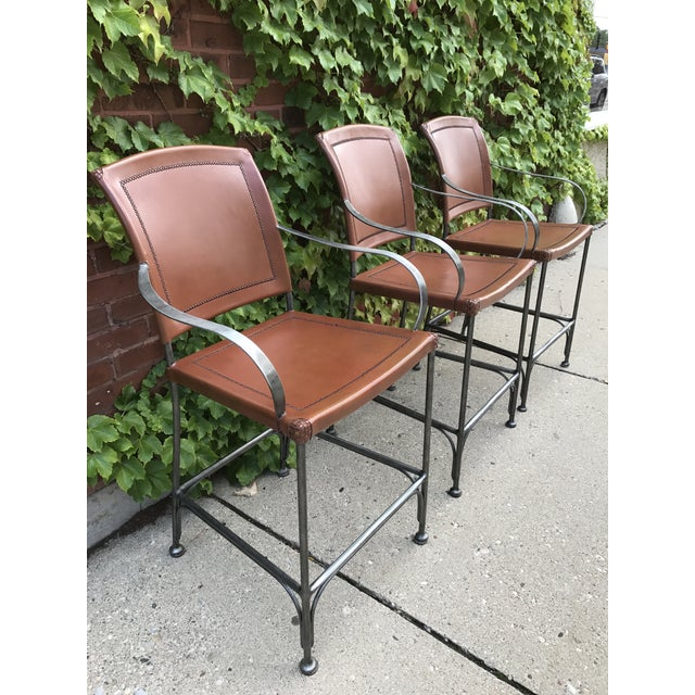 Leather and Metal Bar Stools - Set of 3 - Image 2 of 5