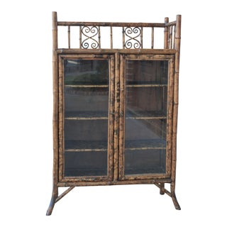 19th Century Antique Bamboo Lacquer Chinoiserie Bookcase Cabinet For Sale