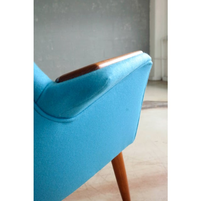 Danish 1950s Lounge Chair with Teak Armrests Upholstered in Kvadrat Divino Wool For Sale In New York - Image 6 of 11