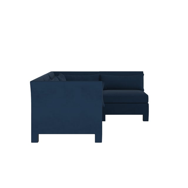 Transitional Velvet Ink 4 Piece Sectional For Sale - Image 3 of 9