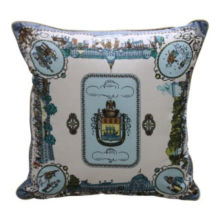 European Street Scene Scarf Pillow Cover For Sale