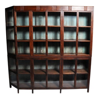 1930s Vintage British Colonial Teak Wood Bookcase For Sale