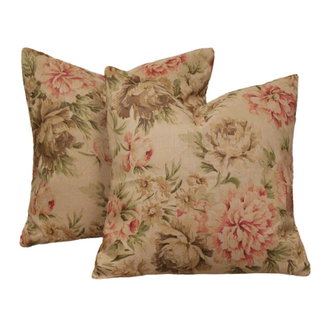 """1990s George Smith """"Blown Peonies"""" Linen Accent Pillows, a Pair For Sale - Image 5 of 5"""