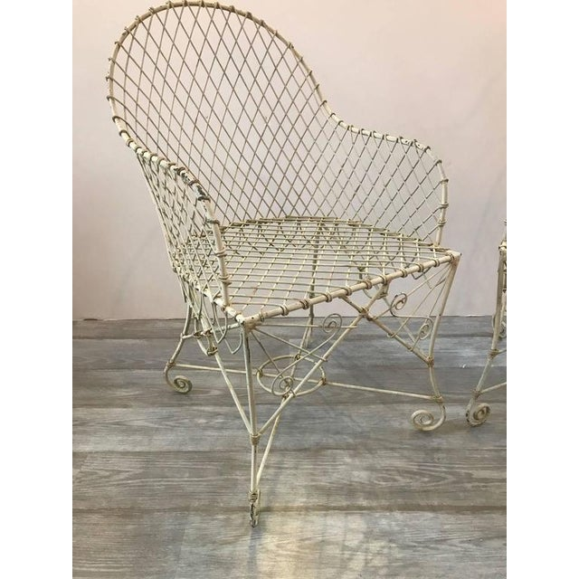 French Painted Wire Tub Back Chairs - a Pair - Image 5 of 10
