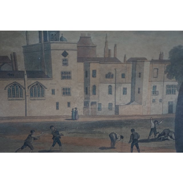 Wood Early 20th Century Antique English Vauxhall Painted Engraving For Sale - Image 7 of 10
