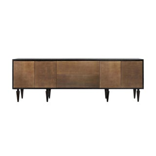 Brass and Ebonized Walnut Credenza