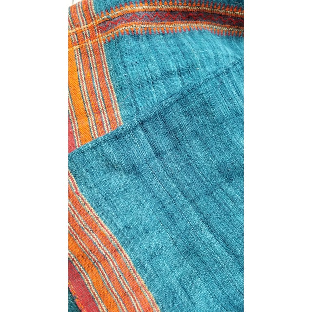 Vankar Indigo and Orange Wool Throw For Sale - Image 4 of 6