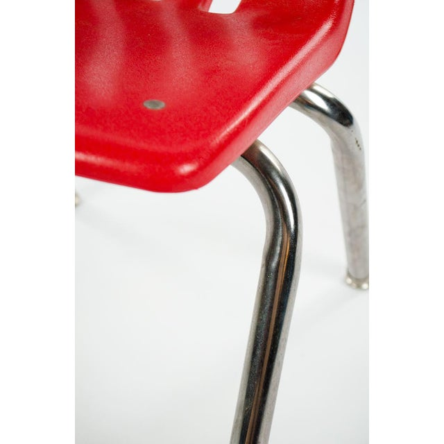 Red Virco Mid-Century Red Stacking School Chairs - Set of 4 For Sale - Image 8 of 12