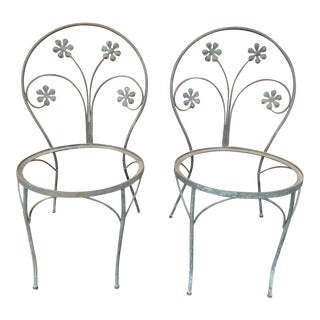 Pair of Antique Iron Garden Chair Frames For Sale