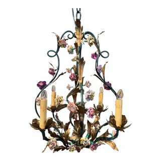 French Painted Metal Chandelier With Porcelain Flowers For Sale