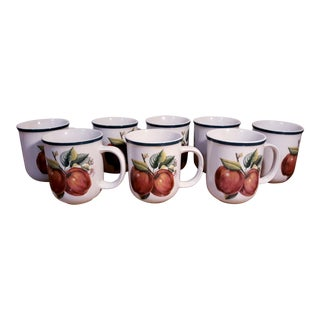 Vintage Pearl China Casual Stoneware Apple Coffee Mugs - Set of 8 For Sale