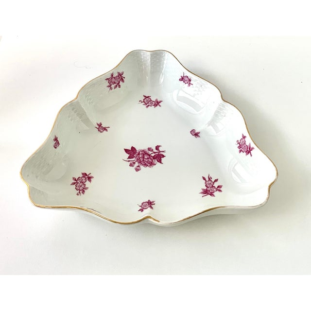 Large Herend Chinese Bouquet triangle serving dish in Raspberry pink color Handpainted in stunning design and gold edging...
