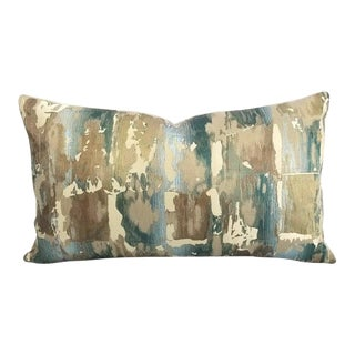 "Beacon Hill Annina in Dark Aqua Tan, Aqua, and Cream Paint Stroke Pattern Lumbar Pillow Cover - 14"" X 24"" For Sale"