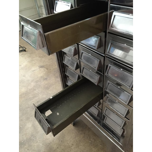 Vintage Mid-Century Metal Library Cabinet For Sale - Image 11 of 11