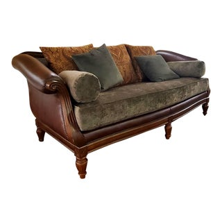 Thomasville Furniture Ernest Hemingway Leather and Fabric Camel Back Sofa With Nailheads and Cherry Trim For Sale